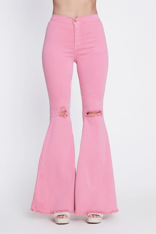 Pink Distressed Bell Bottom Flares