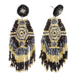 Black Beaded Tribal Tassel Dangle Earrings