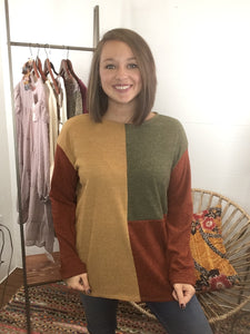 Nora Leigh- Mustard/Rust/Olive Top