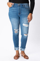 KanCan - Hadley Jo High Rise Distressed Skinny - PLUS - KC7299M-B