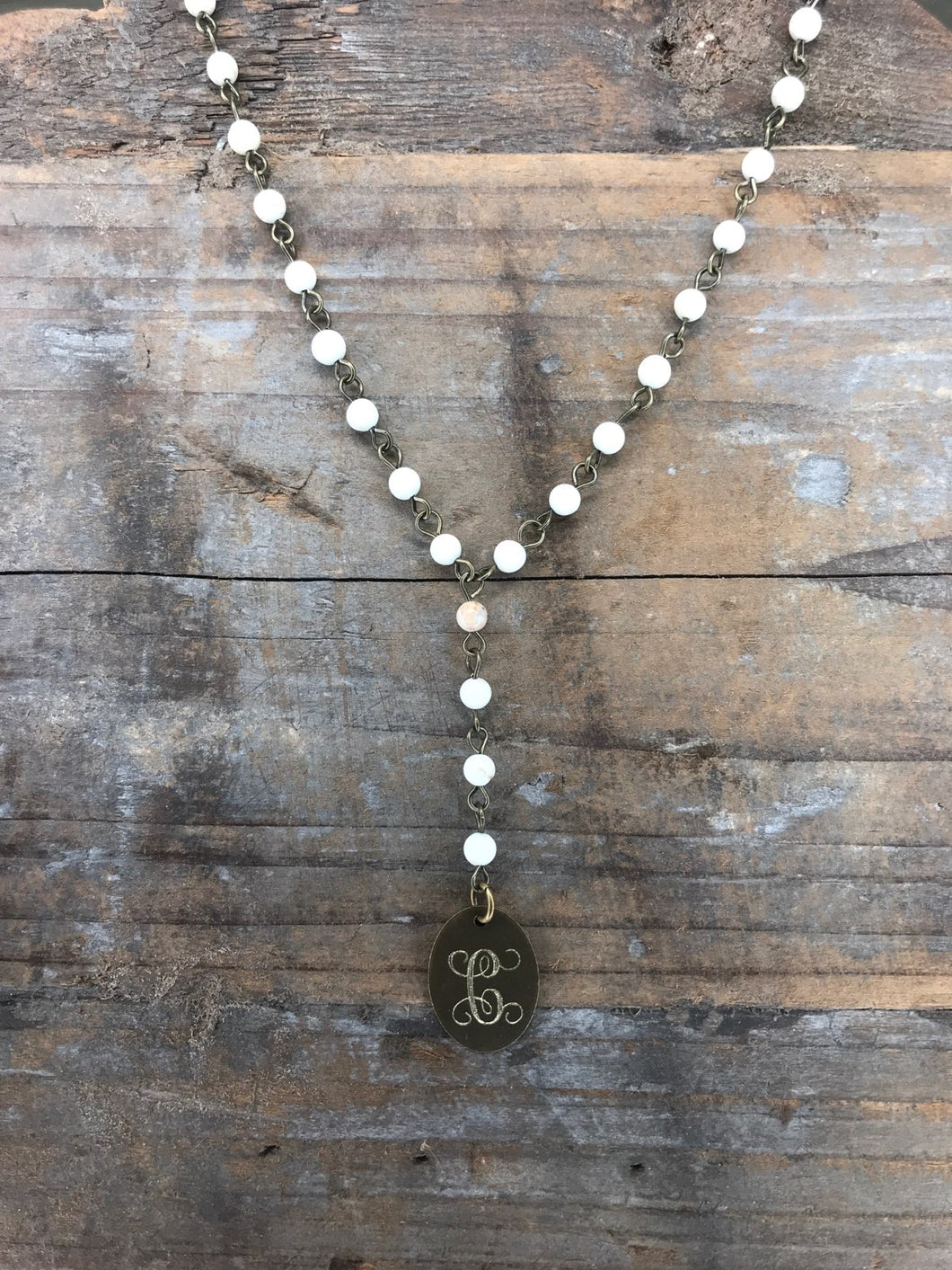 Haute Mess Agate - Lariat Bronze Oval Initial