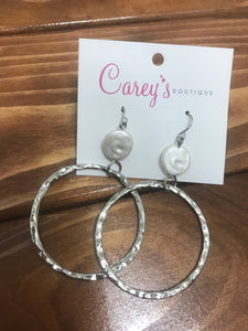 Silver Hoops with Pearl