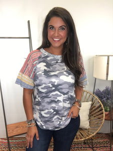 Trusting- Blue/Red/Camo Top
