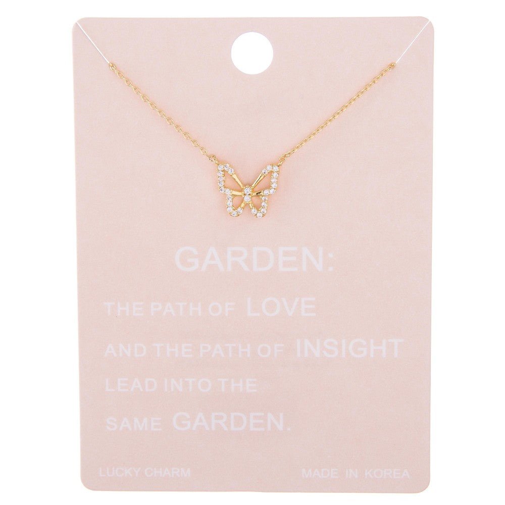 Dainty Line Butterfly Necklace