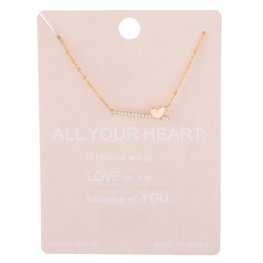 Dainty Line Heart On A Line Necklace