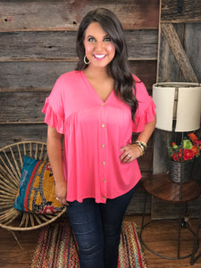 Delightfully Coral Top
