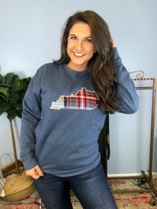 Plaid State Embroidery Sweatshirt