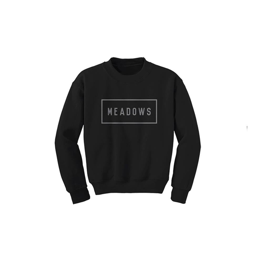 The Meadows Box Logo Black Crewneck