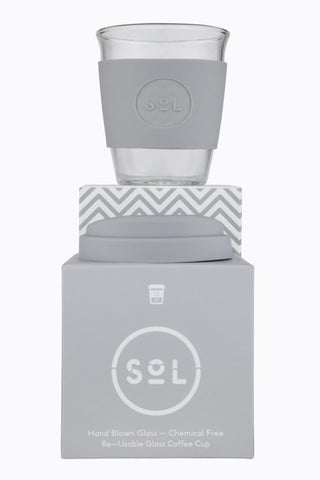 Reusable SOL Coffee Cup 12 oz Cool Grey
