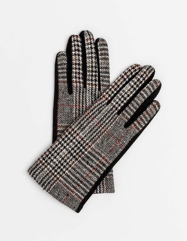 Red & Black Tweed Gloves