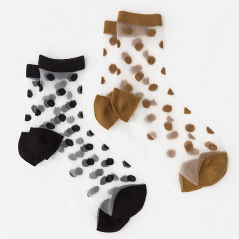 Black & Rust Spot Stocking Socks - Set of 2