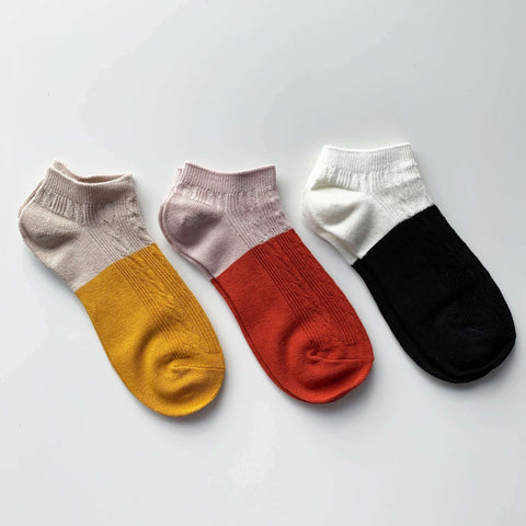 Colour Block Socks - Set of 3