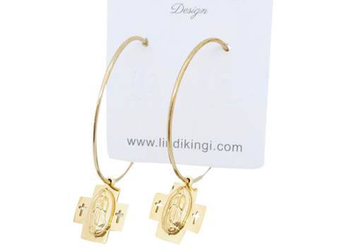 Lindi Kingi Saint Double Cross Hoop Earrings - Gold