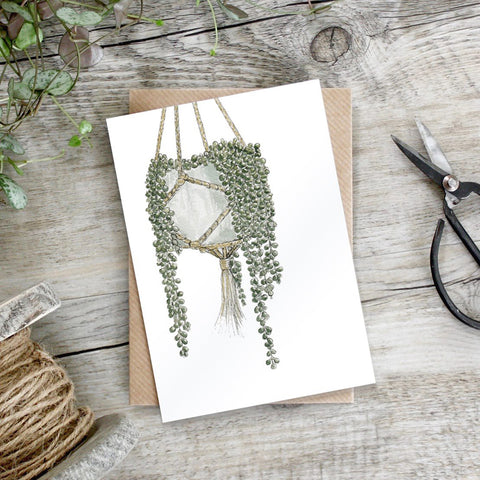Lace Succulent in Hanging Pot Greeting Card
