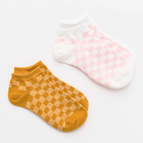No-Show Checkboard Socks Pink & Mustard - Set of 2