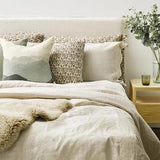 Thread Design Linen Pillowcases (set of 2) - Olive Flutter