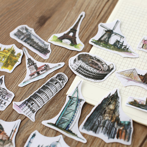 Watercolor Monuments 44-Piece Sticker Pack - Rad Luxury Travels