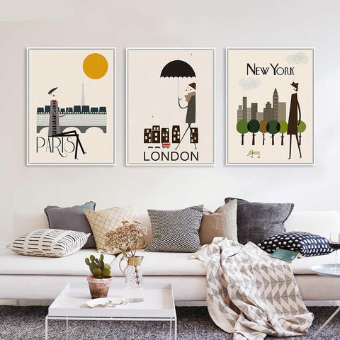 Modern City Travel Art Print Posters - Rad Luxury Travels