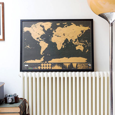 Midnight Scratch World Map Travel Edition Wall Poster - Rad Luxury Travels