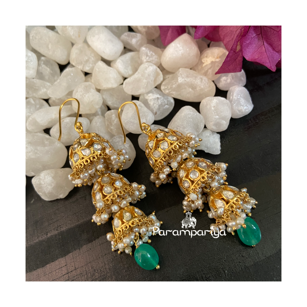 Moissanite hook jhumkas