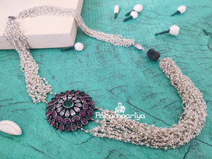 Silver and pearl mogappu necklace