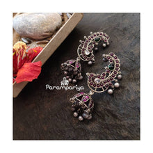 Load image into Gallery viewer, Ear cuff Silver jhumkas