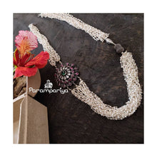 Load image into Gallery viewer, Silver and pearl mogappu necklace
