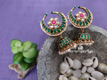 Load image into Gallery viewer, Green Chandran jhumkas