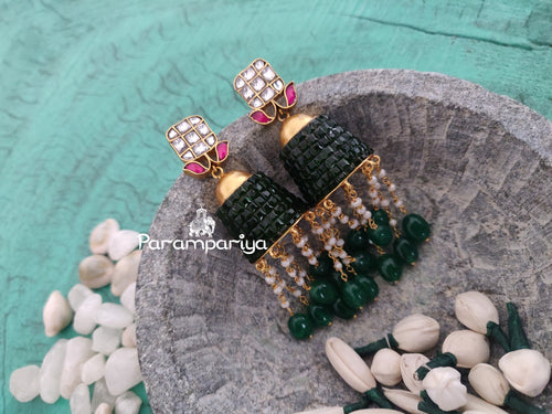 Contemporary statement kundan jhumkas