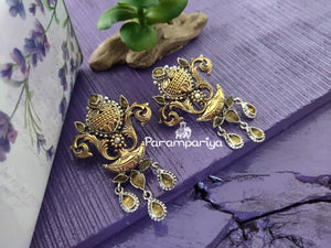 Dual tone kundan earrings