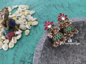 Green and red kundan jhumkas