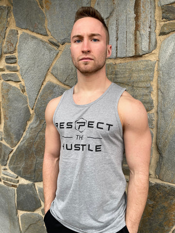 Respect The Hustle Tank - Heather Grey