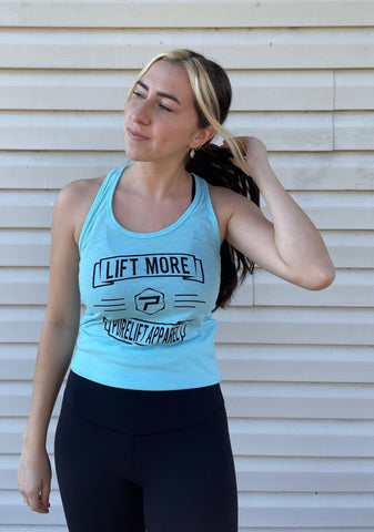 Lift More Racerback Tank - Ocean Blue