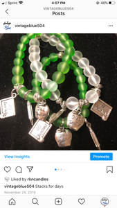 Teacher Stack Green Frosted & Silver