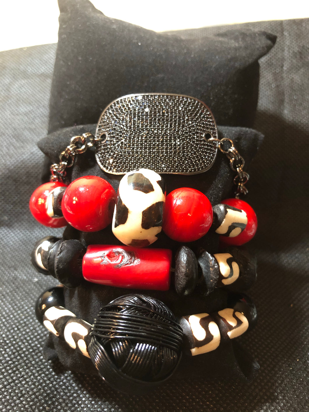 Red With African Bone with bling link Bracelet Stack