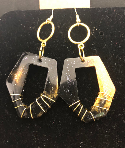 Black & Gold Wired Hoops 2