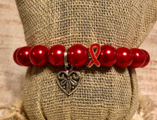 Red Awareness bracelet Dangled Heart