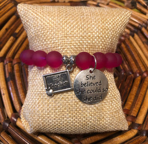Teacher Frosted Magenta #1 Teacher Charmed Bracelet