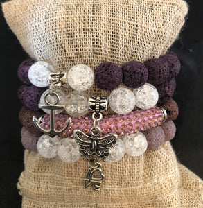 Rose Lava and Crystal Bead Stack