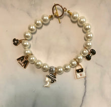 White Pearl Chanel Inspired Wire Bracelet