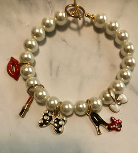 White Pearl Chanel Inspired Wire Bracelet 2