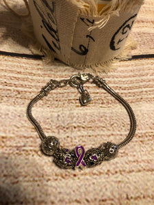 Purple Awareness Snake Link/Heart Charm single