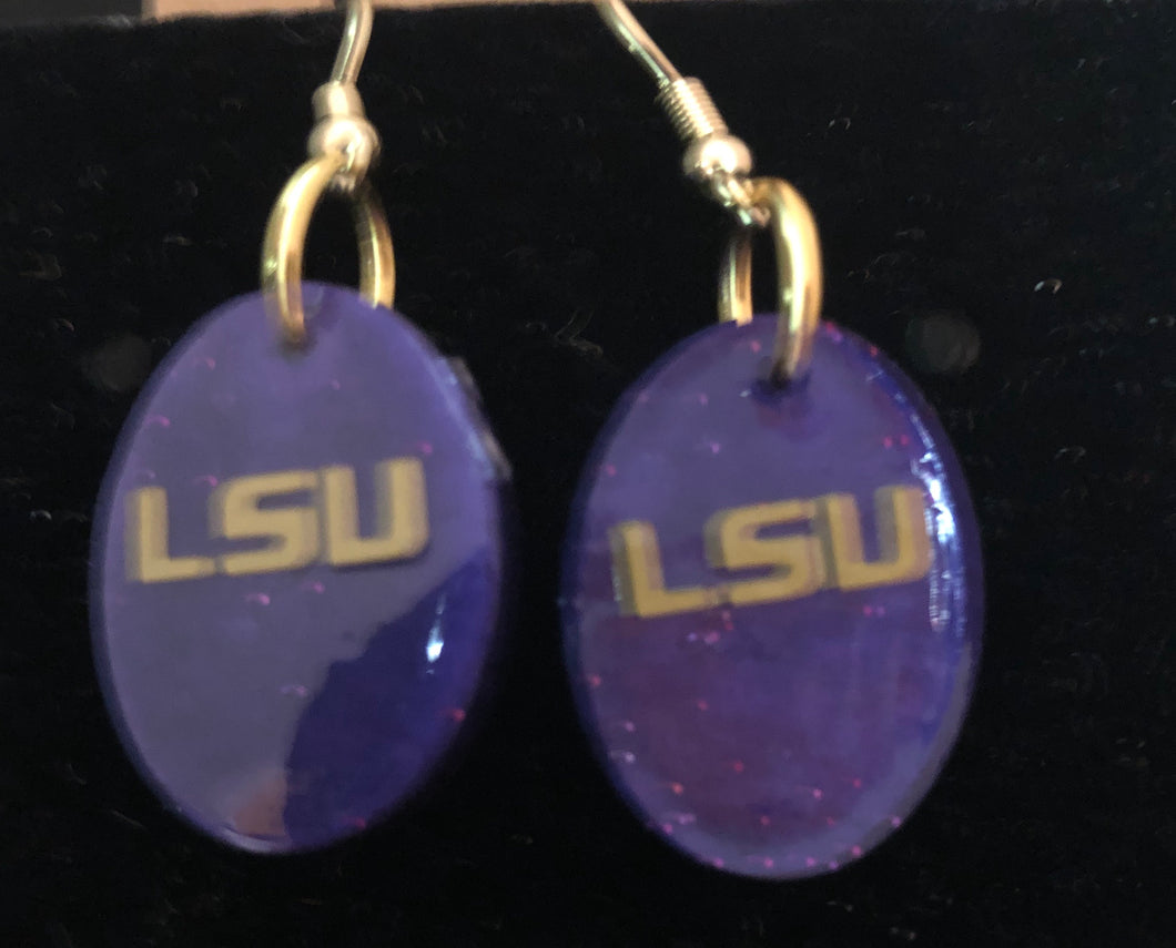 LSU Purple Oval earrings