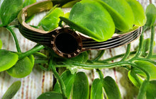 Women's Bangle Black Opal stripe Gold
