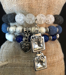 Blue Lava and Crystal Charm Stack