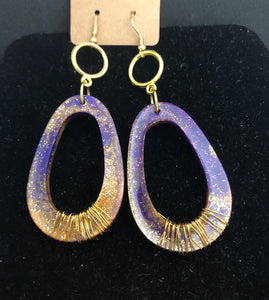 Purple & Gold Resin Hoops