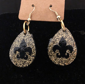 Gold and Black Tear Drop Dangles
