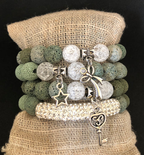 Green Lave and Crystal Stone Healing Stack