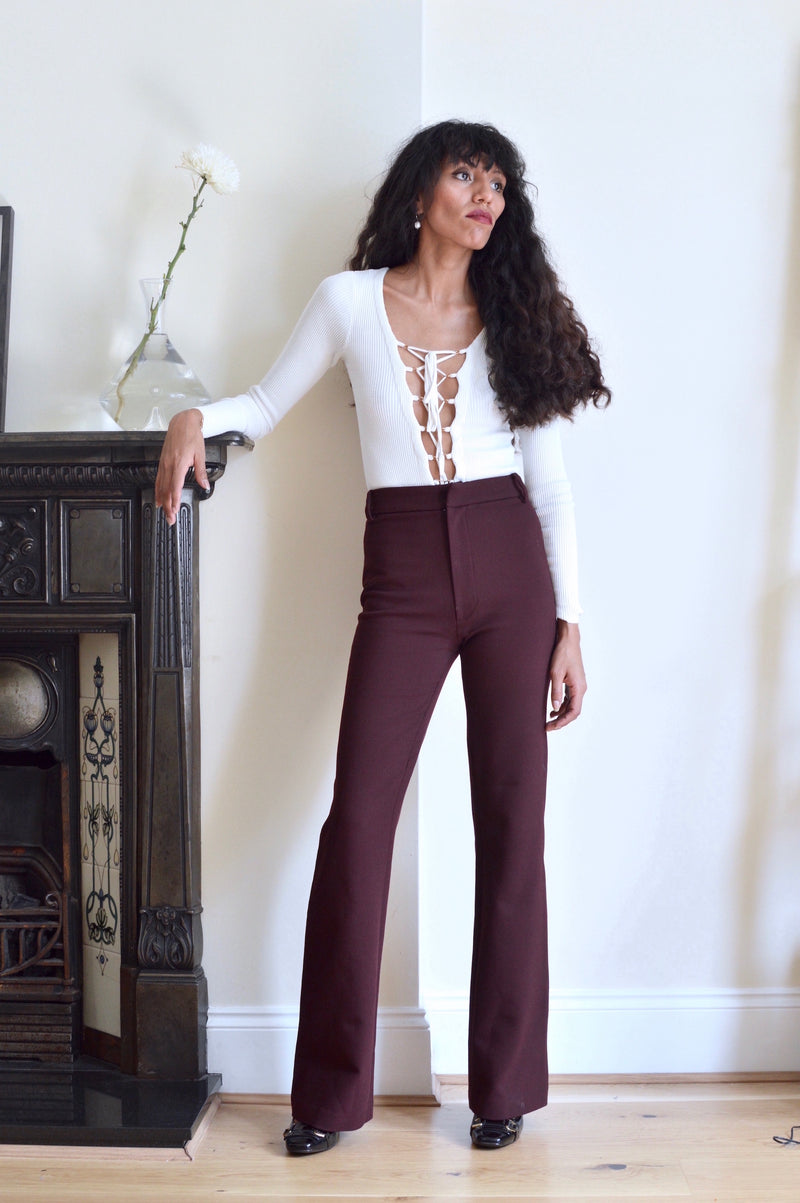 Coco Burgundy Shaping Flare Cut Trousers