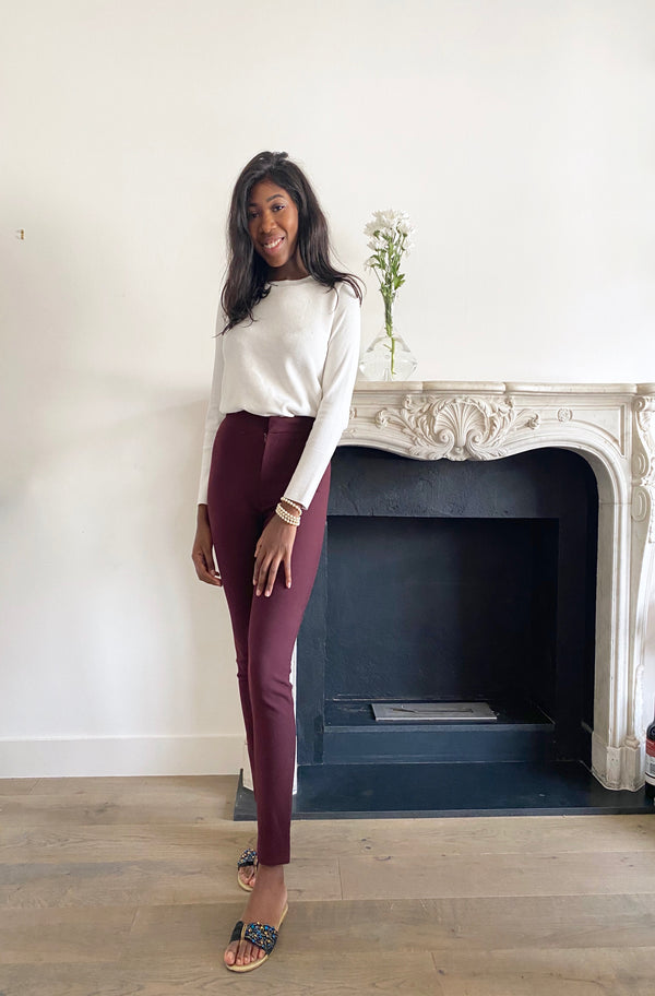 Bianca Burgundy Shaping Skinny Fit Trousers